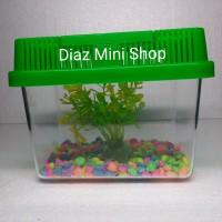 Paket Aquarium Mini Atap Datar ( Bahan Mika )