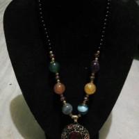 kalung batu akik kombinasi crystal