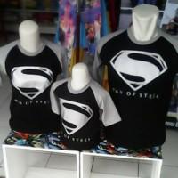 Kaos Karakter Family Superman Hitam Perak (Ayah, Ibu & 1 anak)