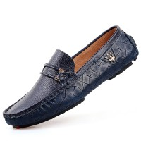 PINSV Leather Mens Flats Shoes Casual Loafers (Blue) - Intl