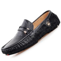 PINSV Leather Mens Flats Shoes Casual Loafers (Black) - Intl