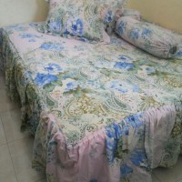 Sprei Batik Ungu Biru Uku 100x200x30 Cm