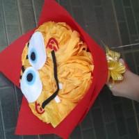 buket bunga flanel dan kertas krep