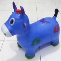 mainan kuda jumping bunyi suara (model sapi / kerbau karet, tunggang)