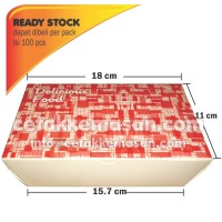 Paper Lunch Box M ( Atas 18x11x5 cm) Anti Minyak & Anti Air Foodgrade