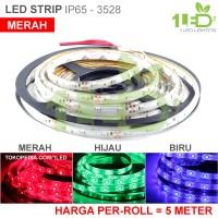 Lampu LED Strip Flexible Merah Roll 5 Meter 6W IP65 SMD 3528