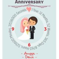 Kado ulang tahun perkawinan jam dinding (kode a-832)