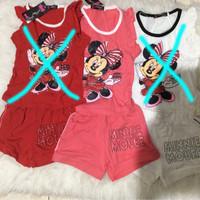 kaos karakter setelan baju anak cewe_minnie pink