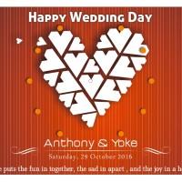 jam dinding happy wedding (w-820 red)