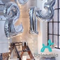Balon Foil Angka Silver 100cm