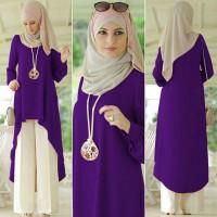 Quincy set kulot ungu [ setelan baju muslim ]