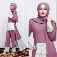 Luna set pants purple [ setelan baju muslim ]