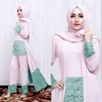 Luna set pants pink [ setelan baju muslim ]