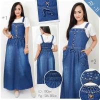 Overall jeans Dress kodok motif batik jumpsuit playsuit denim hijab