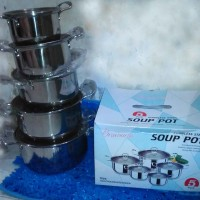 Panci Soup Pot 5 PCS Stainless Steel + Tutup Kaca