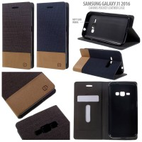 Samsung Galaxy J1 2016 Canvas Leather Flip Cover Casing Case Dompet