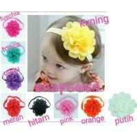 pita bayi dan anak perempuan bando headband bunga - Hitam