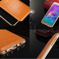 Samsung Galaxy J2 Hybrid Metal Bumper & Leather Back Hard Case (Ob)