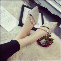 Sepatu Wanita Flatshoes Gliter GISELA Gold