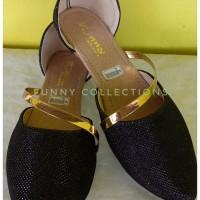 Sepatu wanita Flat Shoes dubai glitter hitam | sepatu pesta