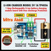 Kit Power Bank Li-ion Charger Modul 5V 1A TP4056 Soket Mini USB
