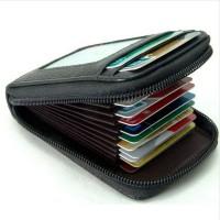 Dompet Kulit Penyimpanan Kartu Travel Multifungsi