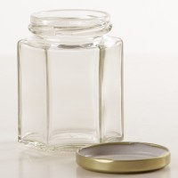 Botol Toples Jar 100ml (kaca) : Segienam (Hexagon), TANPA penutup