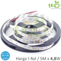 Lampu LED Strip Flexible Putih Roll 5 Meter 4,8W  IP33 SMD 2835