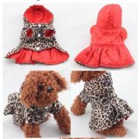 baju anjing kucing mantel jaket anjing kucing motif macan tutul