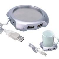 USB 2.0 Coffee Cup Warmer Pad with 4 USB Ports Hub