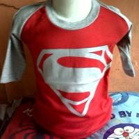 Kaos Karakter Anak Superman Logo (Merah Abu)