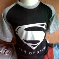 Kaos Karakter Anak Superman Logo (Hitam Abu)