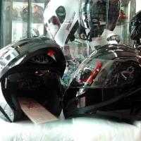 Helm KYT RRX Black Solid Glossy Modular Visor Flip Fullface