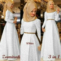 Hijab Maxi Zamirah 3in1 White