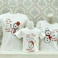 GRATIS Nama, Kaos Natal Couple Family Set Keluarga Christmas Snowman