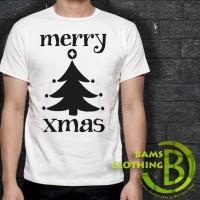Kaos Cowok / Cewek - T Shirt - Kaos Natal Merry X Mas Christmas Logo 2