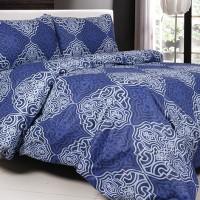 Sprei Sorong Katun Jaxine Blue Batik 2in1 Diskon