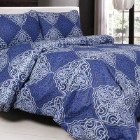 Sprei Katun Jaxine Blue Batik 180x200x20 Diskon
