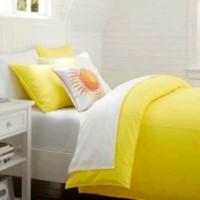 Sprei Katun Jepang White Yellow 200x200x25 Diskon