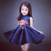 Cheongsam Blue Flower Red Girl Dress - Dress Anak Perempuan
