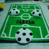 Football karpet karakter Lapangan Sepak Bola SET Hijau