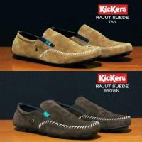 Sepatu Kickers Slop Mocasin Rajut Tan Brown / Sepatu Santai Jalan Pria