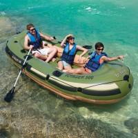 Perahu Karet Muat 4-5 orang dapat Pompa dan Dayung 2 batang