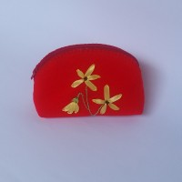 Pouch Flanel Embroidery Red