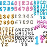 balon foil huruf angka size40cm gold silver biru pink by ghofuraa shop
