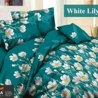 Sprei Katun FORTUNA White Lily Biru Ukuran 180x200 Berkualitas