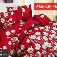 Sprei Katun FORTUNA White Lily Merah Ukuran 160x200 Berkualitas