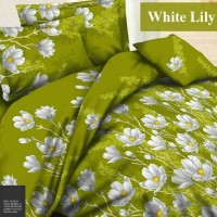 Sprei Katun FORTUNA White Lily Hijau Ukuran 200x200 Diskon