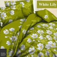 Sprei Katun FORTUNA White Lily Hijau Ukuran 180x200 Berkualitas