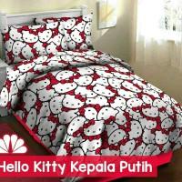 Sprei Katun FORTUNA Hello Kitty Kepala Putih ukuran 120 Murah